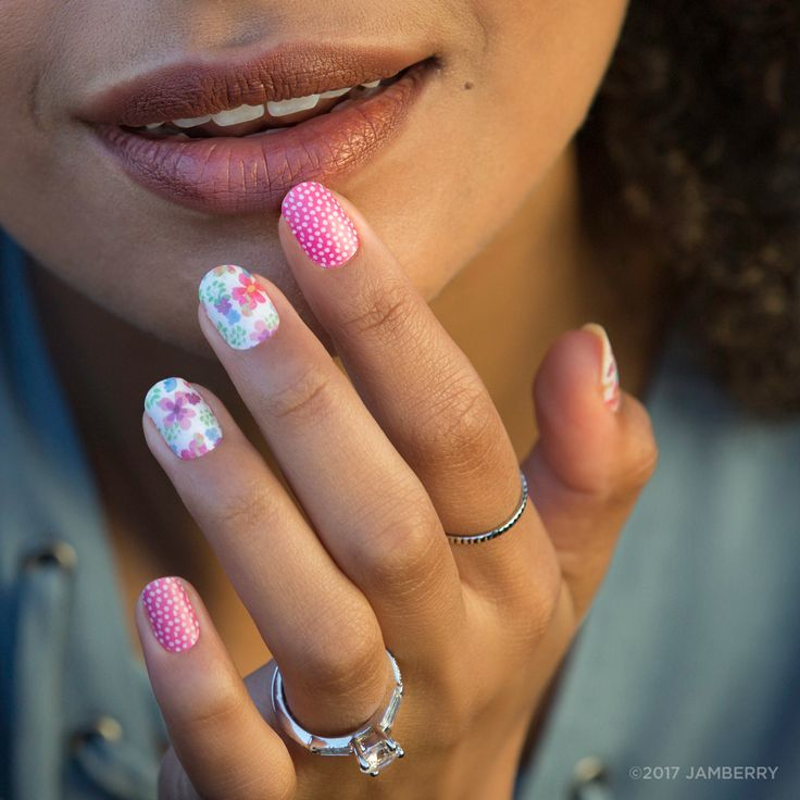 Floral Splendor | Jamberry | Bright, colorful flowers and a pretty pink and white polka make this mixed-mani a must-have!