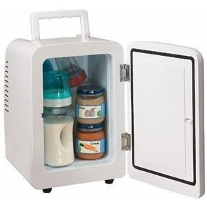Keep your Lunch Cold at Work with a Portable Mini Refrigerator | Cubicle Bliss.  This is great for your cubicle at work or for the nursery to keep baby food and bottles.