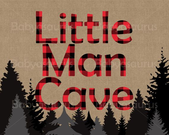 Little Man Cave Rustic Lumberjack Plaid Wall Art by Babyasaurus