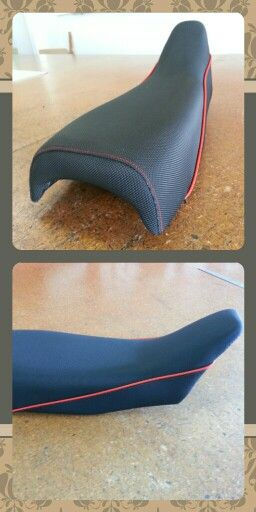 MotoX seat. Black-grippa non slip vinyl complete with red stitching and red piping.