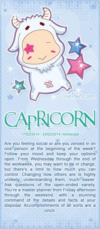 CAPRICORN WEEKLY HOROSCOPE 2/17/14 - 2/23/14 astrology zodiac capricorn horoscopes horoscope weekly horoscope astrological forecast horoscope signs predictions