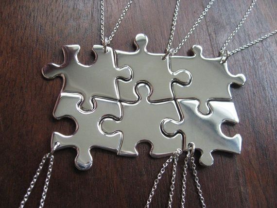 6 Puzzle Piece Pendant Necklaces. These are so cute! What a great gift idea for bridesmaids or friends!