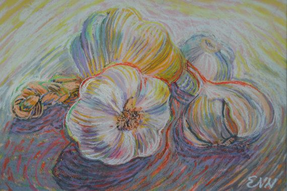 original painting / oil pastel / garlics / food by NielsenDenmark