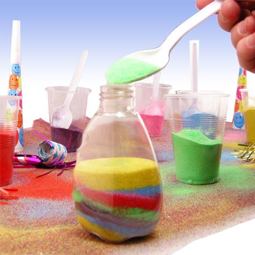 Bring this classic festival sand art activity to your next party! Kids love to layer the sand colors to create a memorable artist masterpiece. Pack includes 8 clear bottles with twist on/off lids, a rainbow of 6 sparkling sand colors and sand funnels.