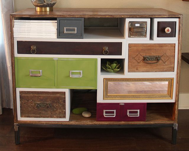 amazing diy media cabinet by karapaslay, via Flickr (@Jackie Sheets): Ideas, Craft, Old Drawers, Mismatched Drawers, Dresser, Diy Project, Media Consoles, House, Furniture