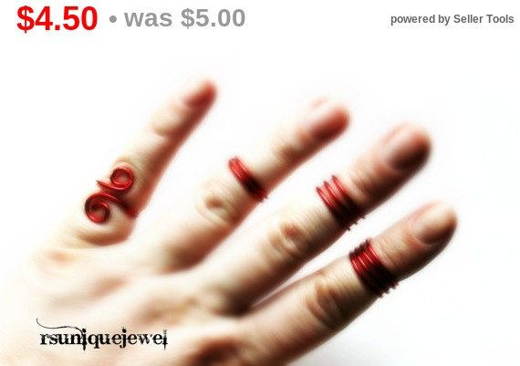 On Sale Midi set knuckle rings Red Wire Midi by rsuniquejewel