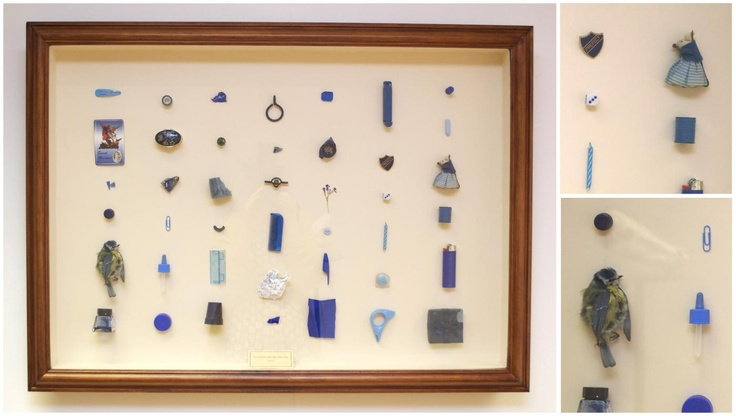 Collection for the Heroine(Blue) > Eleanor Phillips // a mixture of colour specific items; those found outside and those belonging to me. [68x92cm, found objects, 2012]