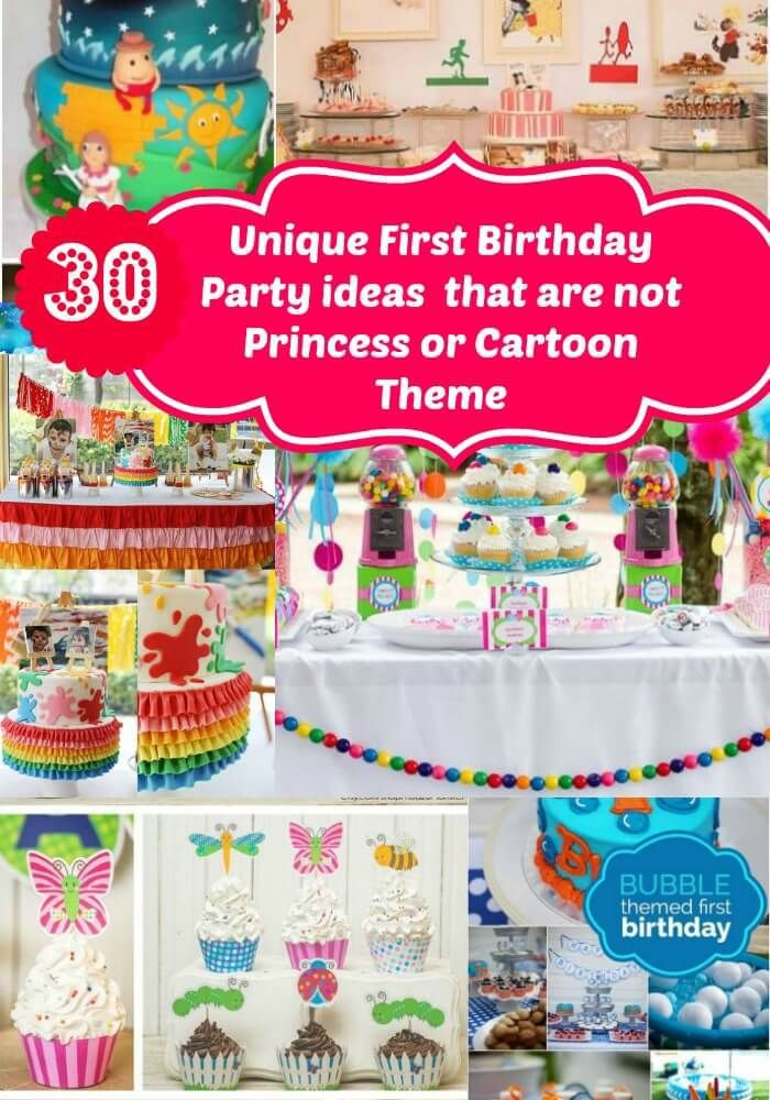 No Princess/ Cartoon themed Unique First Birthday party Ideas for girls