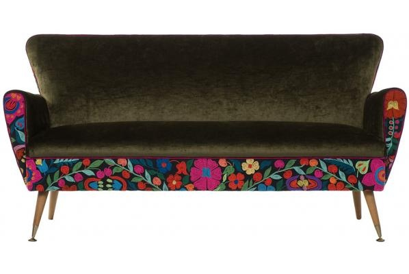 Bella Fiore Sofa...mid century in Olive velvet and vintage hand-embroidery at www.masutti.co.nz ...$3265