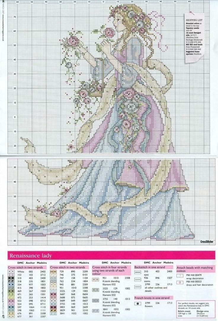 0 point de croix femme rubans et fleurs - cross stitch lady, ribbons and flowers