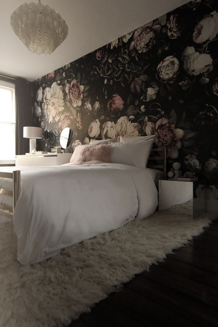 Exceptional Preciously Me Blog : One Room Challenge   Bedroom Makeover Reveal. Ellie  Cashman Dark Floral. Bedroom Accent WallsBedroom Wallpaper ...