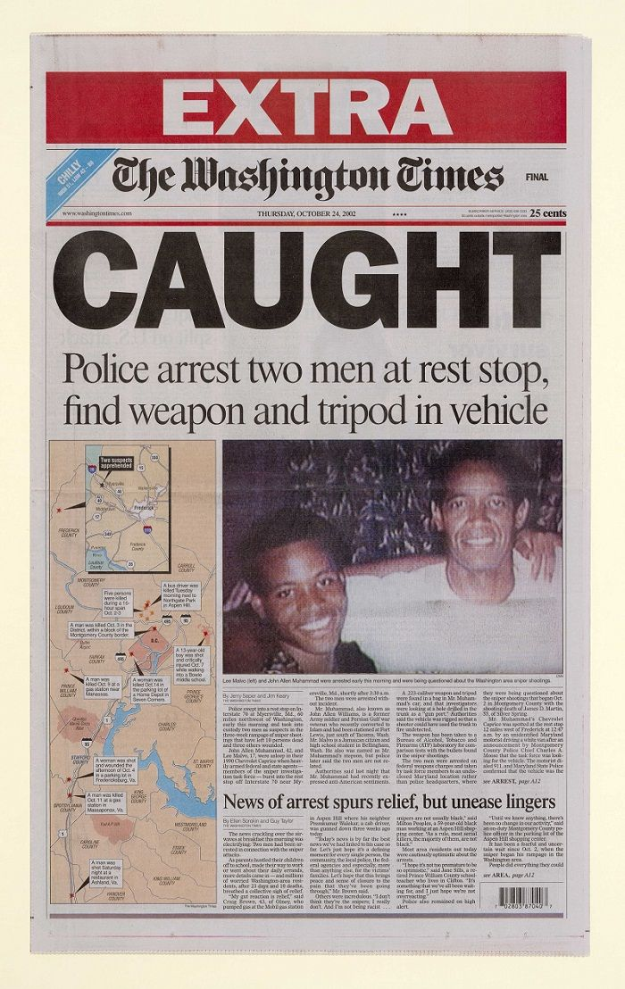 Oct. 24, 2002: Police arrested John Allen Muhammad and Lee Boyd Malvo at a Maryland rest stop in connection with the Washington-area sniper attacks.