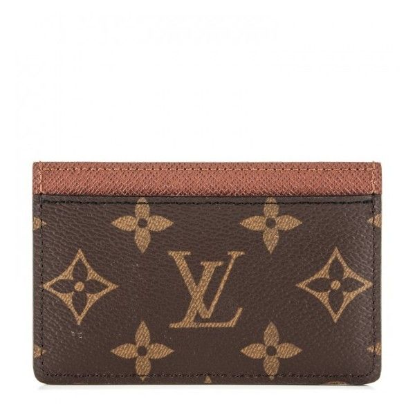 LOUIS VUITTON Monogram Card Holder Armagnac ❤ liked on Polyvore featuring bags, wallets, card carrier wallet, monogram wallet, brown bag, monogrammed bags and louis vuitton wallet