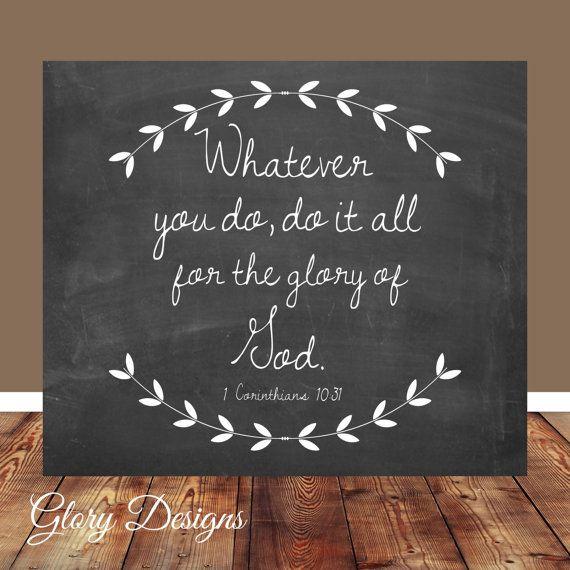 Bible verse, Scripture Art, scripture printable, 1 Corinthians 10:31, Bible Verse printable, Printable, DIY, Home decor