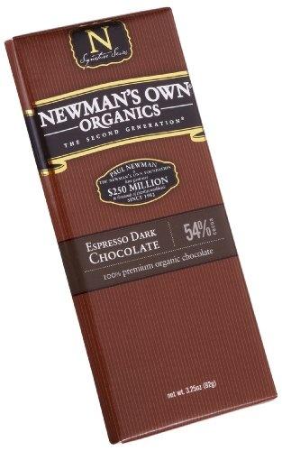 Newman's Own Organics Espresso Dark Chocolate Bar, 3.25-Ounce Bars (Pack of 12)