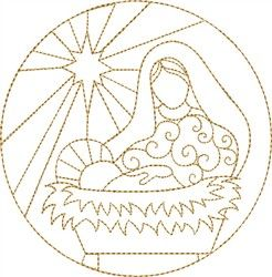 Natividad Maria y Jesús Diseño de bordado