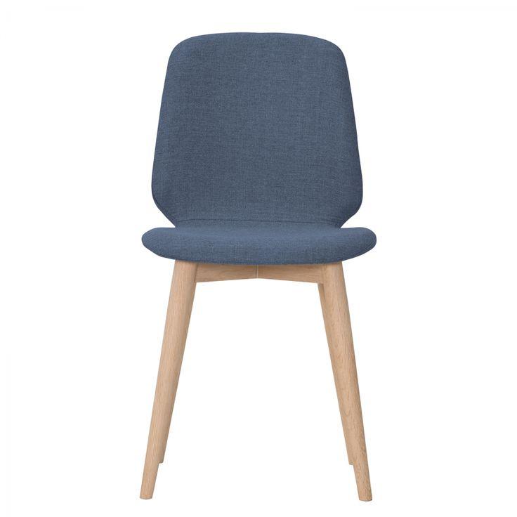 Gestoffeerde stoelen Helvig III (2-delige set) - geweven stof/massief eikenhout - Stof Vesta Lichtblauw