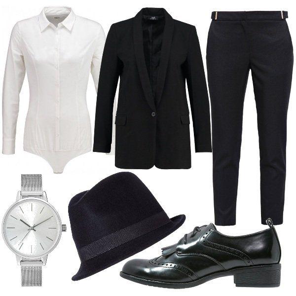 Camicia+body+bianca+abbinata+a+blazer+nero+e+pantaloni+7/8+neri.+Per+gli+accessori+ho+scelto+stringate+nere+in+ecopelle+con+frangia,+cappello+borsalino+nero+e+orologio+silver+in+acciaio+inossidabile.