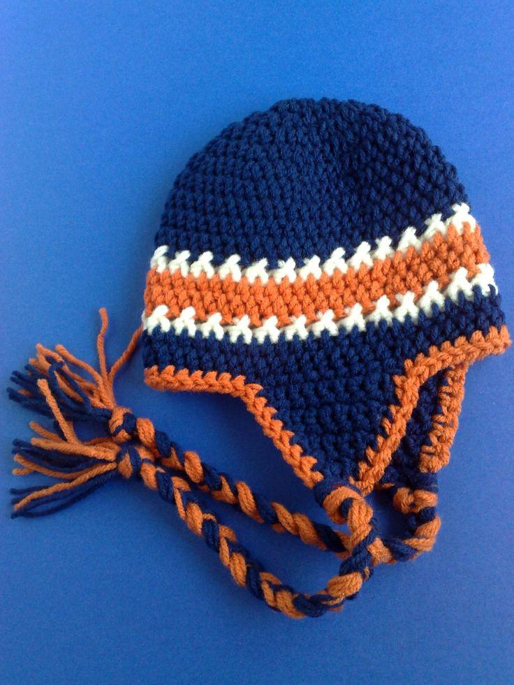 Denver broncos hat, football team hat, nfl hat, crochet hat