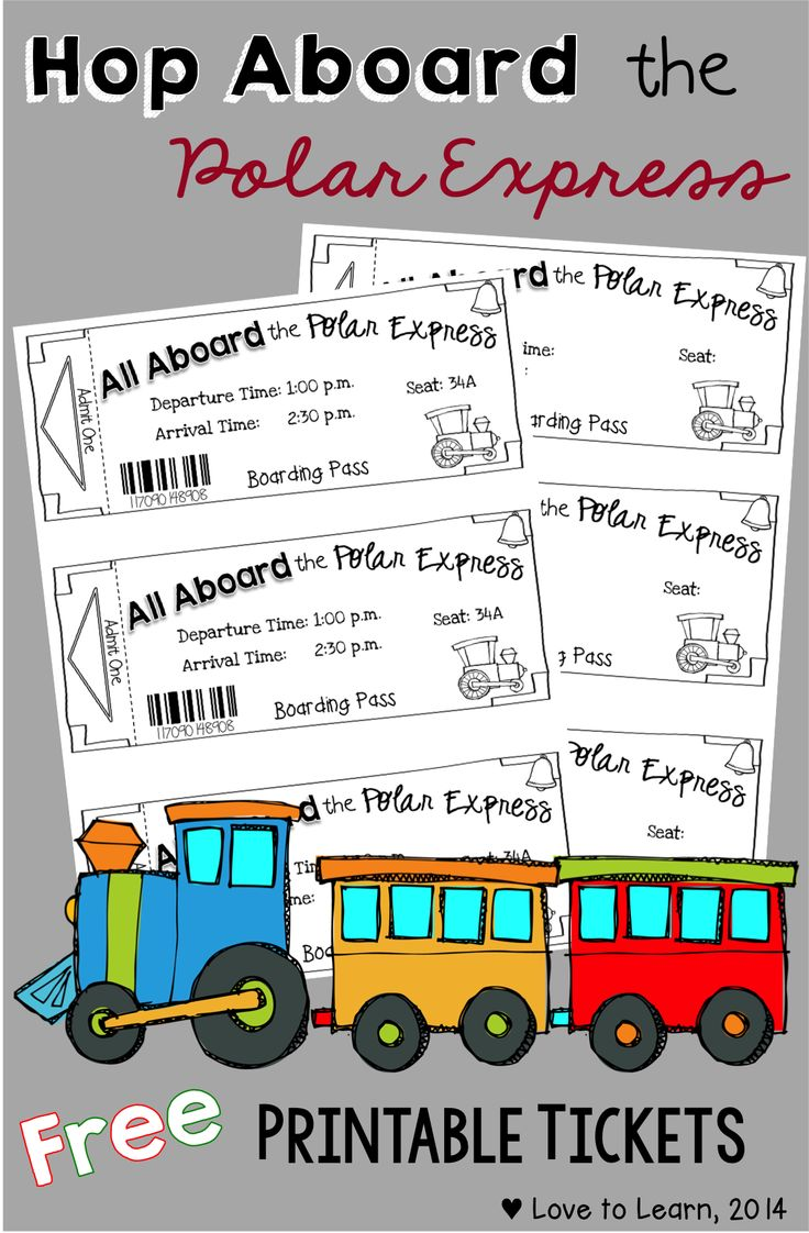 Hop aboard the Polar Express with these free printable tickets. Creates a fun atmosphere for this amazing Christmas read aloud.