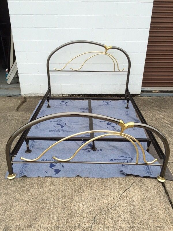 queen size metal frame bed extra strong re enforced thick bed frame some minor scratches