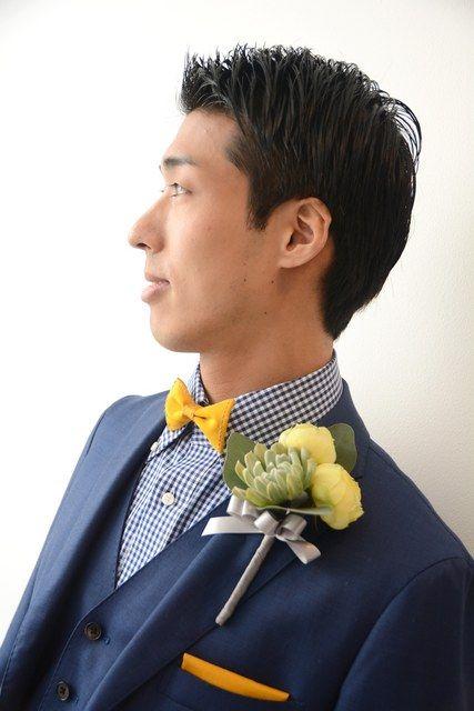 ジャスマック八雲(JASMAC YAKUMO) 結婚式場写真「テーマ 【イニシャル×イエロー×ネイビー】 タキシードもテーマカラーでコーディネイト」 【みんなのウェディング】