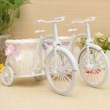 Sıcak satış rattan üç tekerlekli bisiklet çiçek sepeti vazo depolama bahçe düğün dekorasyon ofis yatak odası tutan şeker hediye(China (Mainland))