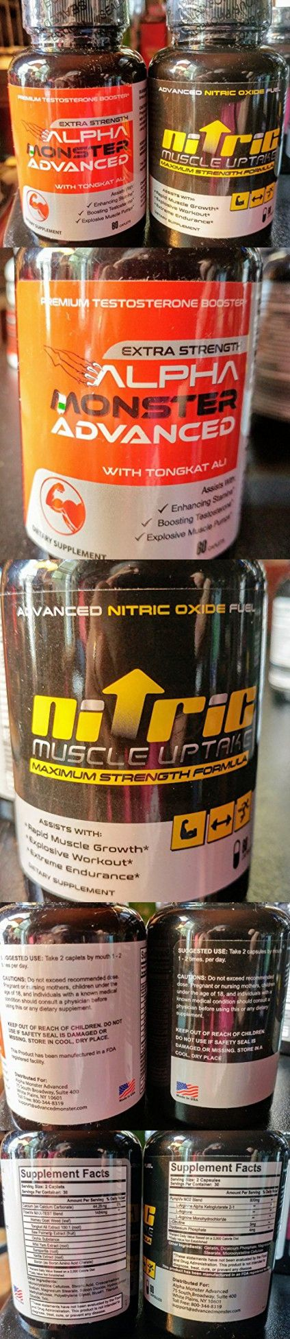 ALPHA MONSTER ADVANCED - Premium Testosterone Booster - and NITRIC OXIDE UPTAKE - Advanced Niric Oxide Fuel -