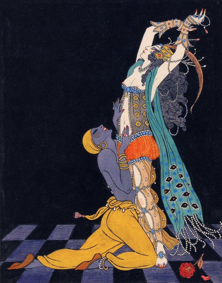 Schéhérazade. Ida Rubinstein and Vaslav Nijinsky (1913). George Barbier(French, 1882-1932). Schéhérazade is a ballet in one act with choreography by Fokine, libretto by Benois, music by Rimsky-Korsakov and design by Bakst. Premiered 4 June 1910 by Diaghilev's Ballets Russes at Paris Opera.