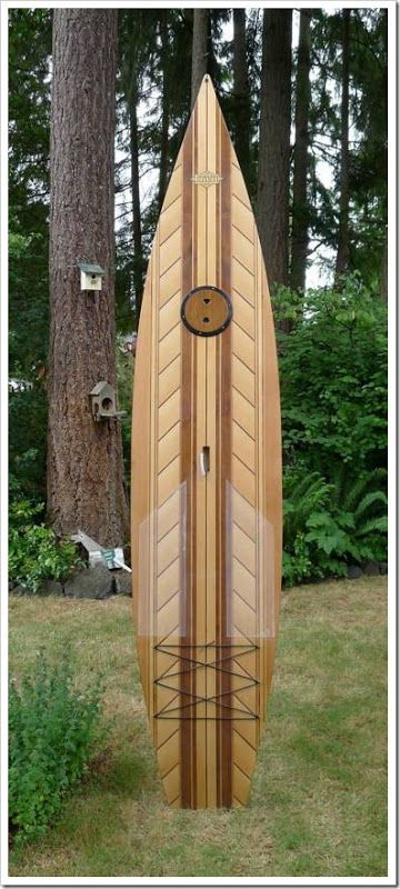 Custom wooden sup boards... a little busy on the deck, but still cool