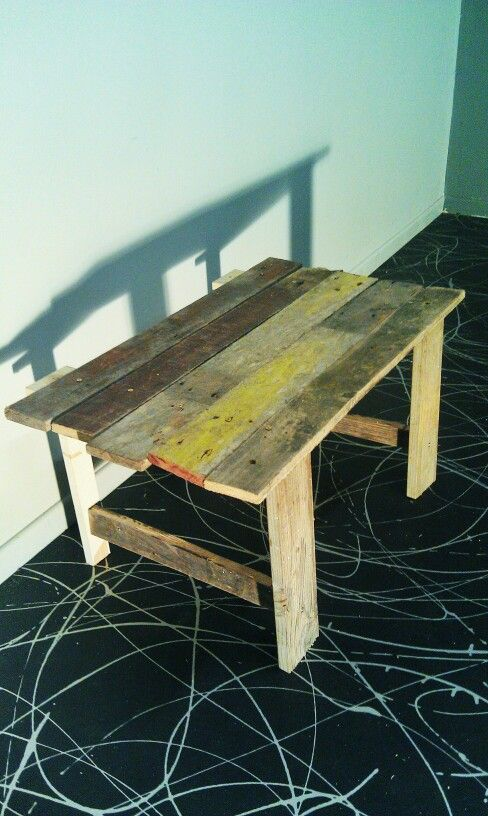 Coffee table, out of old wood and fence pailings. Great for that old school, retro indie look.