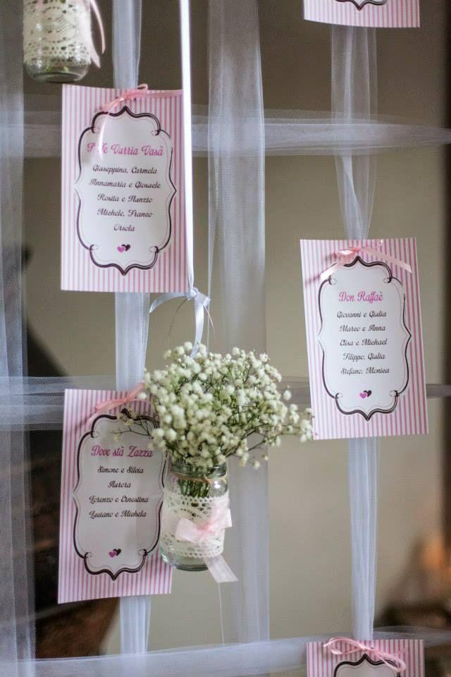 Anche il Tableau mariage è stato costruito con le preziose mani di Marzia e personalizzato con i fiori