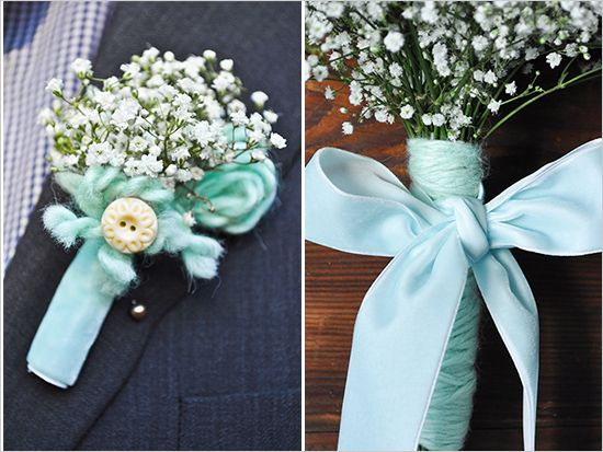 babys breath bout for ring boy - ribbon to match groomsmen, babys breath bouquet for flower girl plus some flowers - make it nice for belle :) :)