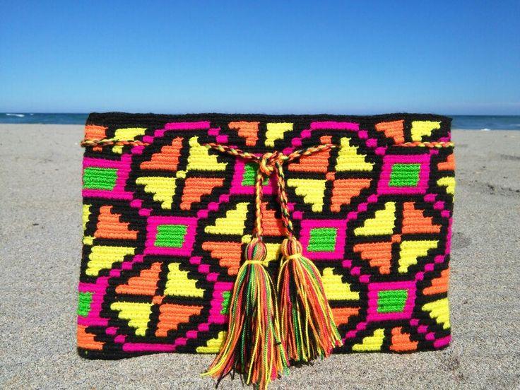 Ready for a neon beach party!! Wayuu clutch