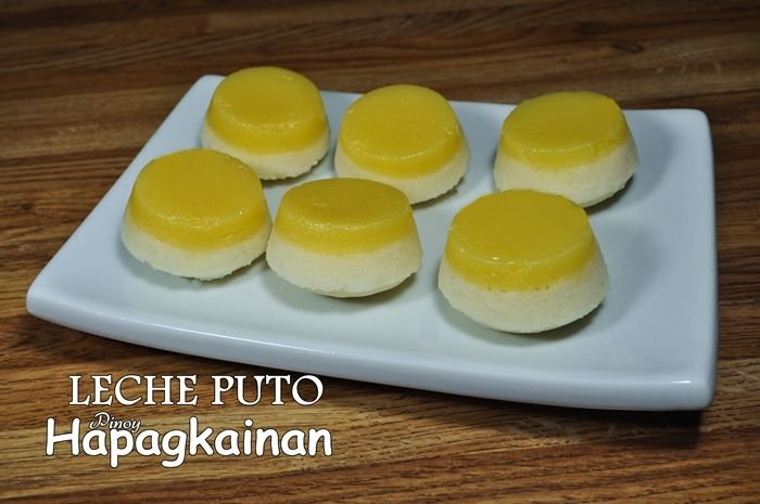 LECHE PUTO  steamed rice cake with egg flan on the top.