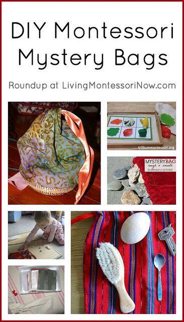 DIY Montessori mystery bags, including DIY drawstring bag tutorials (both sewn and no-sew drawstring bags), ideas for a variety of mystery bags, and mystery bag presentations