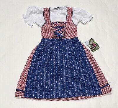Details about Girls Isra Trachten Dress Apron 3 Pc Sz 10 Germany Oktoberfest Red Gingham New
