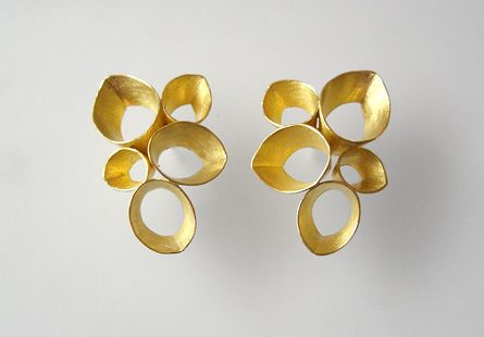 kayo saito, seed pod earrings, 18k. love the cluster of shapes