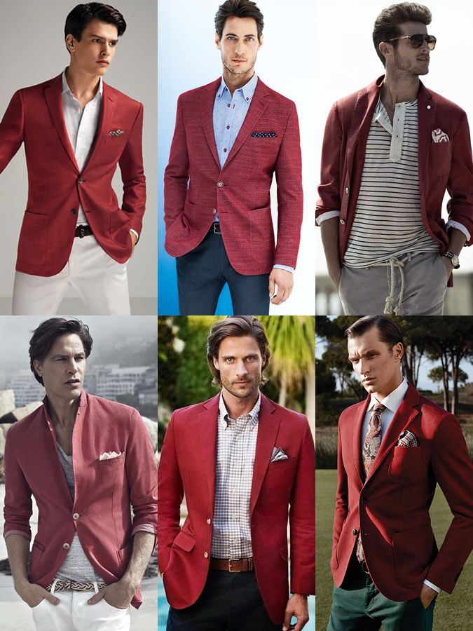 Men's 2015 Spring/Summer Fashion Trend: Red  Blazer Lookbook Inspiration
