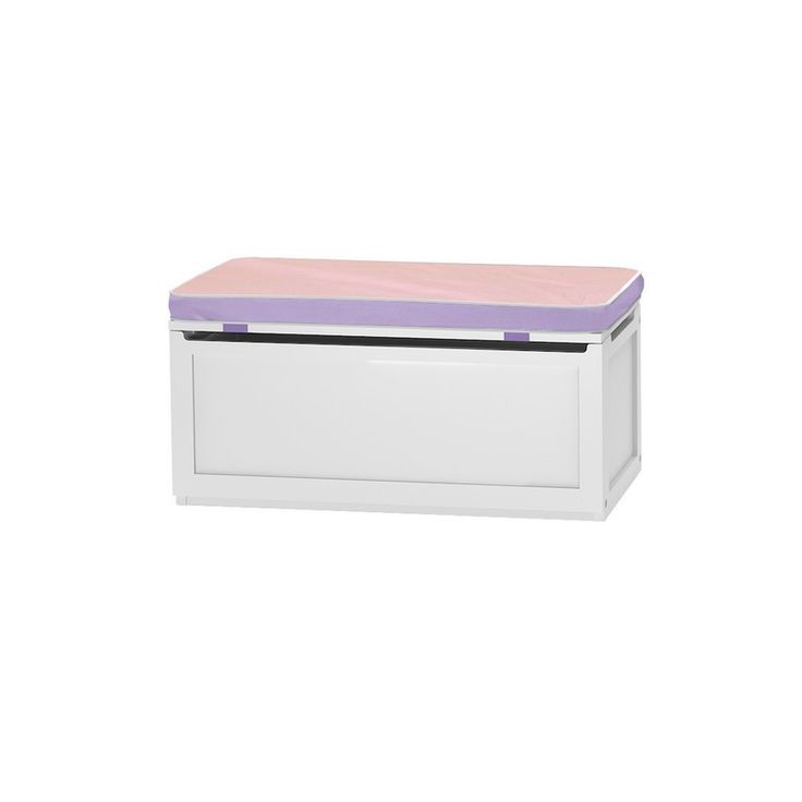 SNUG 36 W : Toy Storage Box with Reversible Purple/Pink Seat Pads : White