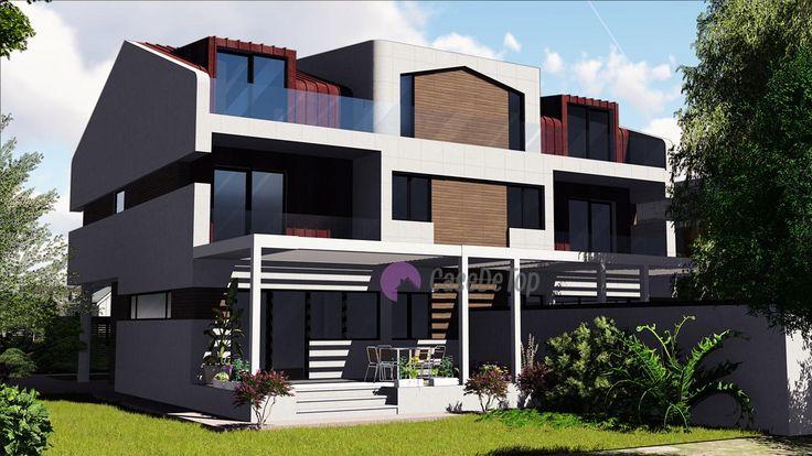 Case cuplate ''in oglinda''- Vedere din gradina| Duplex single-family homes- View from the backyard| Etichete: proiecte case, proiecte vile, proiecte case complexe, proiecte case cu etaj, proiecte case cu mansarda, case moderne