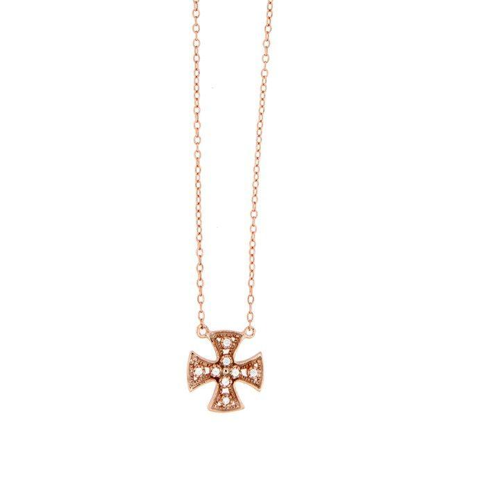 Ασημένιο κολιέ με σταυρό AK-0917R μόνο 27.00€ #moda #style #fashion