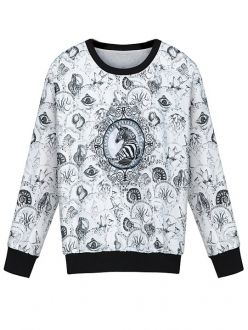 Retro White Totem & Zebra Printed Long Sleeve T-shirt