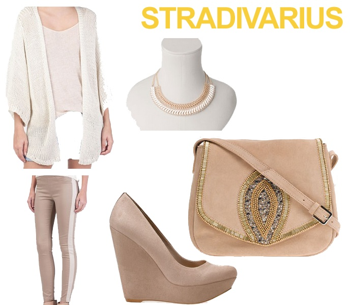 Este es un look Low Cost. En la web de Stradivarius tienen ropa a un precio reducido (Nice Price). Tanto la chaqueta como el pantalón rondan entre los 12 y 15 euros. Los zapatos también son del apartado Nice Price, con un precio de 25 euros. Es un conjunto en tonos claros, ideal para la temporada de Primavera