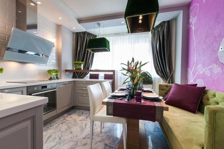 Кухня 11 кв. м. в стиле эклектика. Тонко продуманный дизайнерский замысел гармонично объединил во едино строгую кухонную мебель с мягкой мебелью в обеденной зоне.