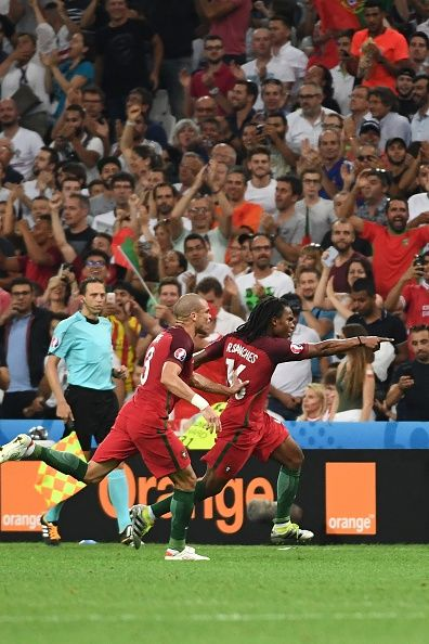 #EURO2016 Portugal's midfielder Renato Sanches celebrates after scoring his team's first goal during the Euro 2016 quarterfinal football match between Poland...