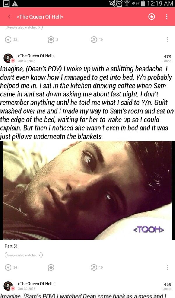 "open rp. be Dean. Girls pov.} I ran off as fast as I could. I was crying. Its been a couple of hours since I've left. Maybe Dean was right. Maybe I am a useless, worthless human. I stopped by the river and was about to jump, except a pair of strong arms wrapped around my waist and pulled me back. I cried out. Dean turned me towards him. ""Sh shh"" He tried to make me quiet. I cried, his lips then kissed mine, I was crying silently now.""I promised what I said wasn't true.{Credit to the girl…"