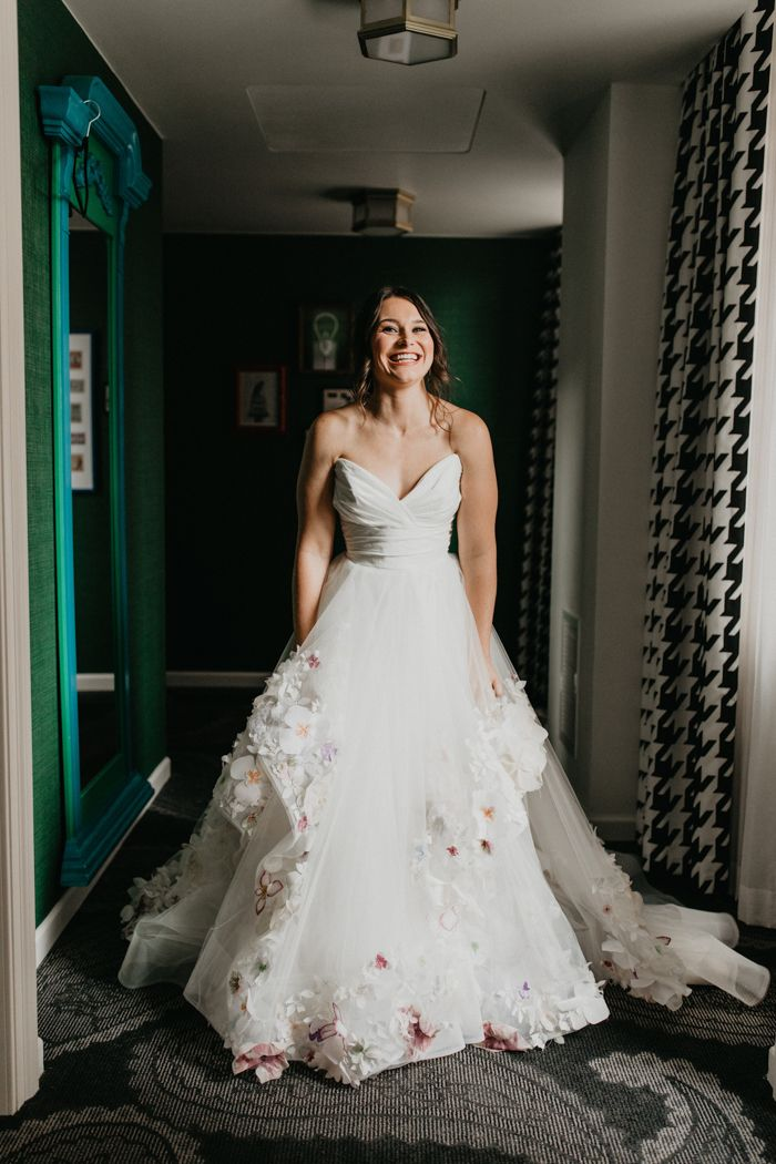 Whimsical Indoor Garden Wedding In The Heart Of Pittsburgh Junebug Weddings In 2020 Wedding Dresses Lace Orange Bridesmaid Dresses Wedding Dress Store