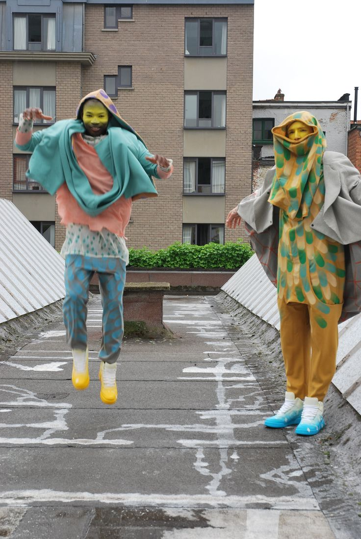 """Claire Michel collection royal academy of fine arts antwerp """"hood, sweet hood"""" collection, spray painted Nikes, spray painted fabrics, spray painted make up"""