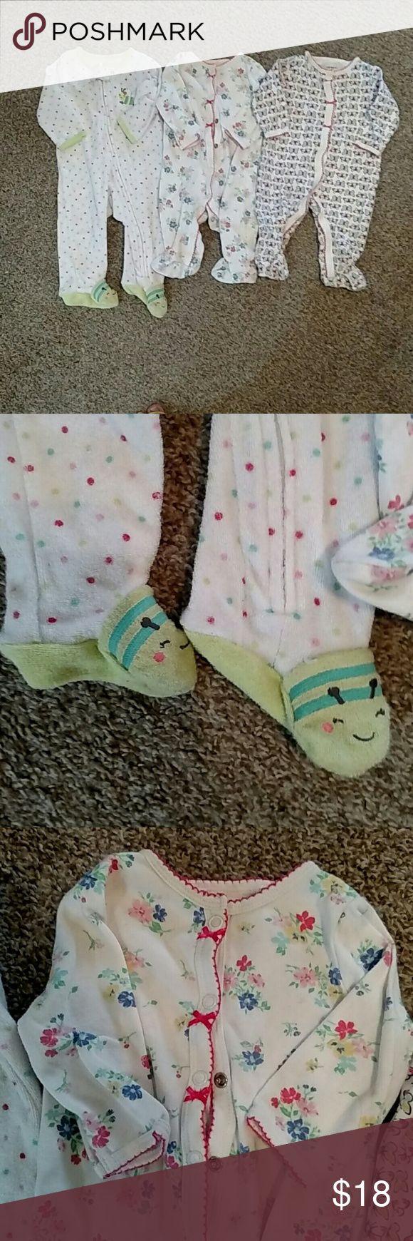 NWOT: Carter's baby girl bundle 0-3 months Baby girl bundle of 3 Carter's sleepers 0-3 months Carter's Matching Sets
